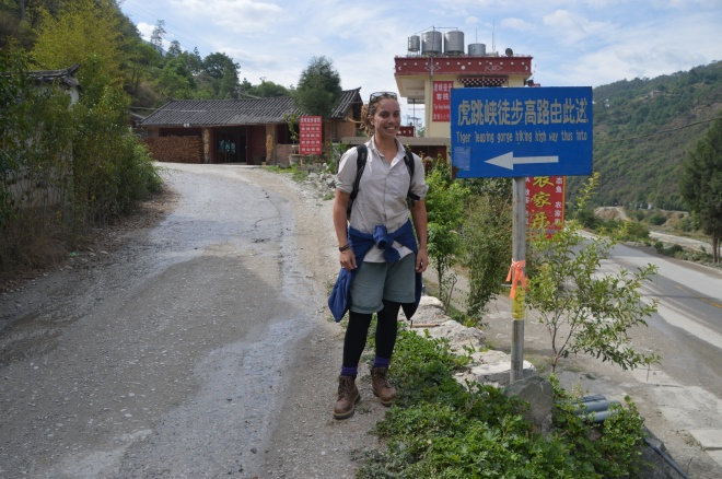 Trail head to Tiger Leaping Gorge.