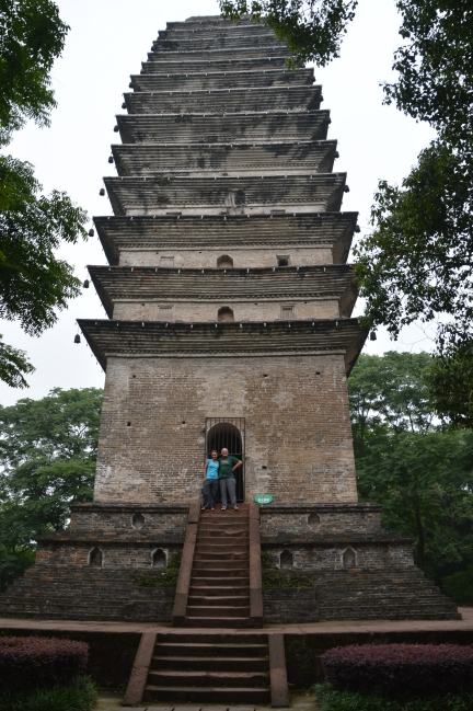 Dad and I at the base of a pagoda.