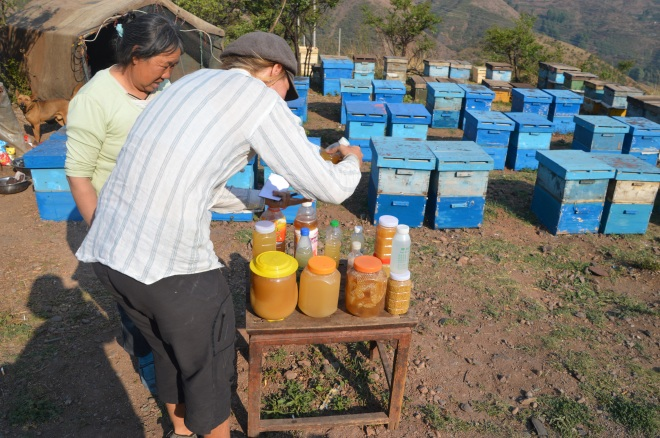 Choosing which honey to buy on the way up a climb.
