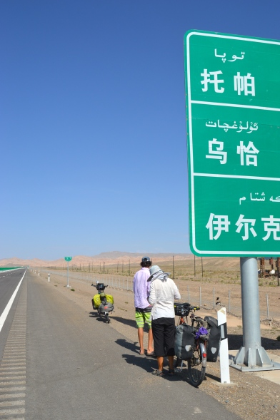 Signs in Mandarin and Uighur.