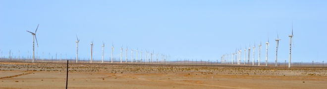 Hundreds of wind turbines on the horizon.