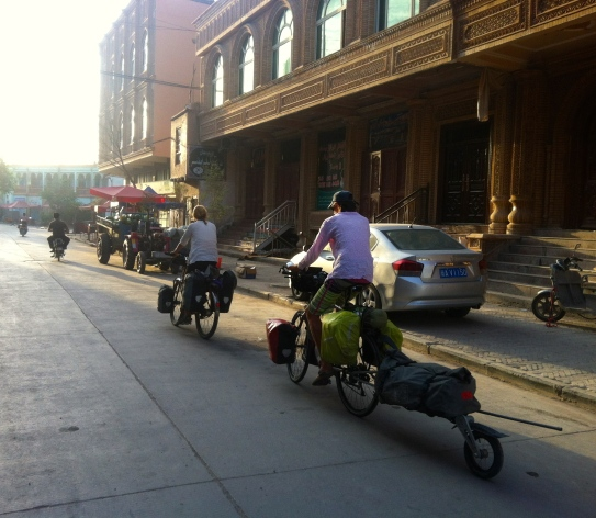 Cycling out of Kashgar.