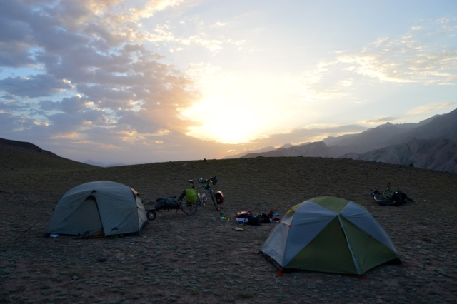 Sunrise on our first full day of cycling in Kyrgyzstan.