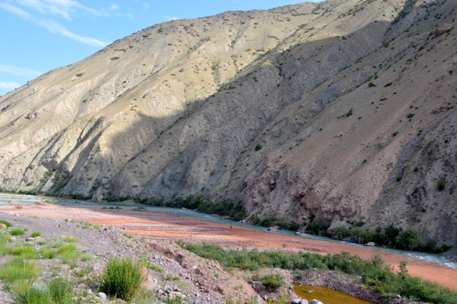 The red and blue waters of river ways combine to make a good fishing spot.