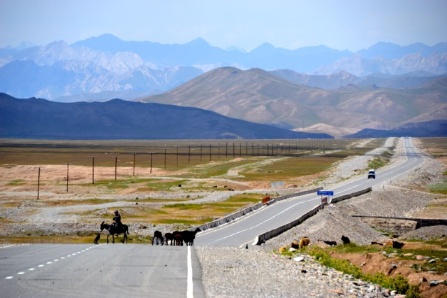 The road is shared by bikes, donkeys, herd animals and the occasional car.