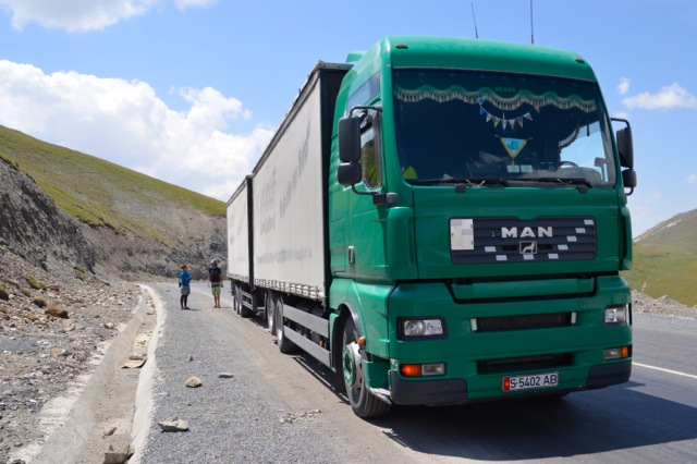 The truck that pulled over and offered us a lift to Bishkek (almost).