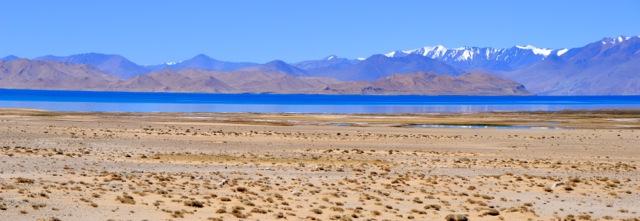 Sand and lake.