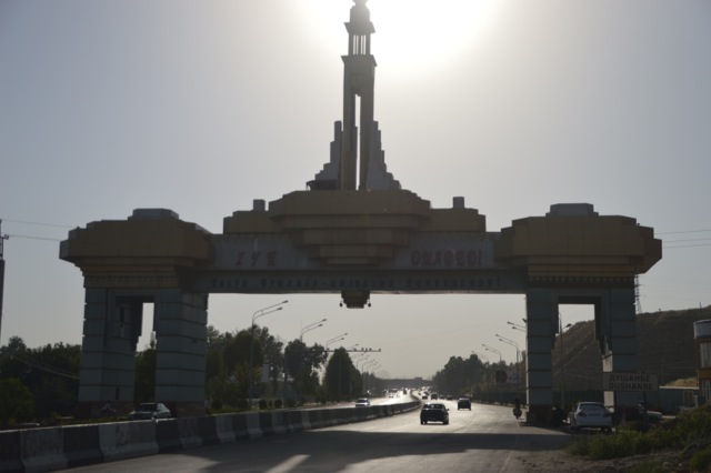 Entry gate to Dushanbe, a welcome site.