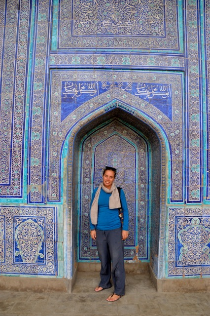 Jude in front of the spectacular tile work of the Summer Mosque.