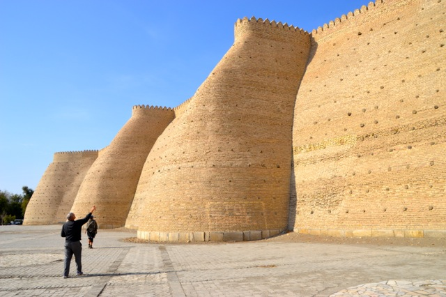 Dad points to the Ark, Bukhara.