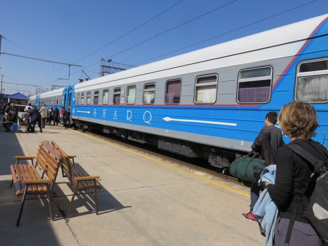 The Sharq train that we caught from Tashkent to Samarkand to Bukhara.