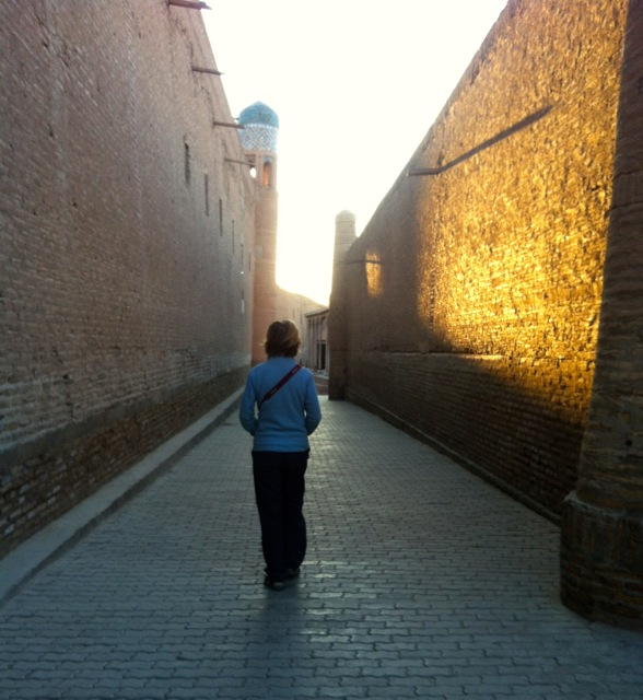 Walking the street of ancient Khiva.