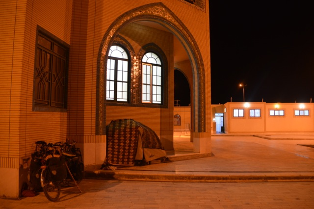 Campsite at the roadside mosque in Mazdavand, before the creeper incident.