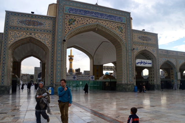 Jude & Arne walking in front of Imam Reza's mausoleum.