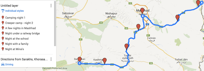 Our route from the Turkmenistan border to Bardaskan.