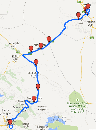 Our route from Yazd to Shiraz.