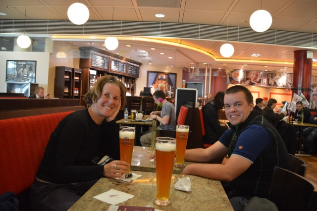Beers at the airport.