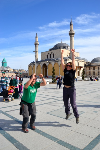 Excited in front of the Mevlana museum.