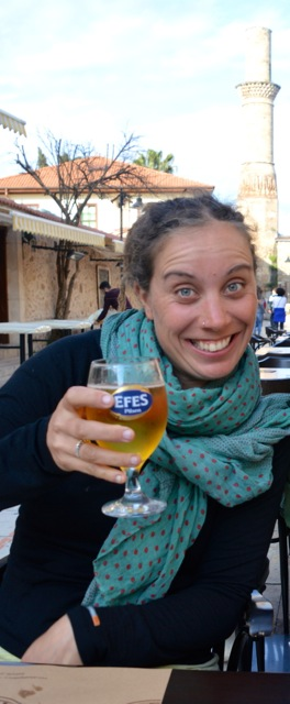 Celebrating with an Efes.