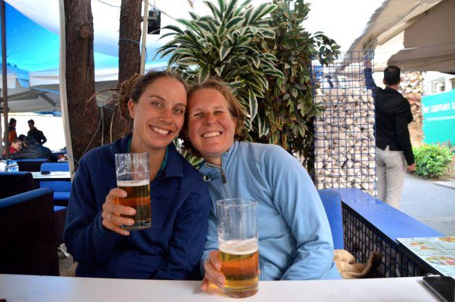 Enjoying a beer after the crazy ride into Izmir.