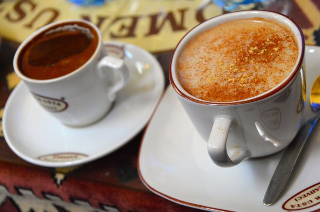 A coffee and a sahlep.