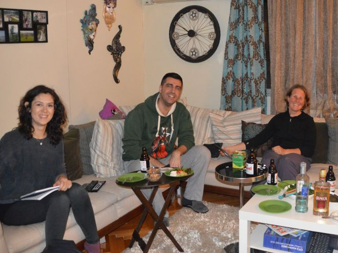 Relaxing at home with Samed and Shahika.