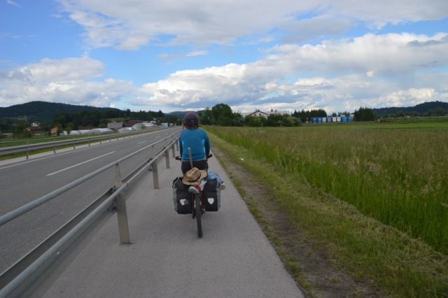 The magical bike path into Ljubljana.