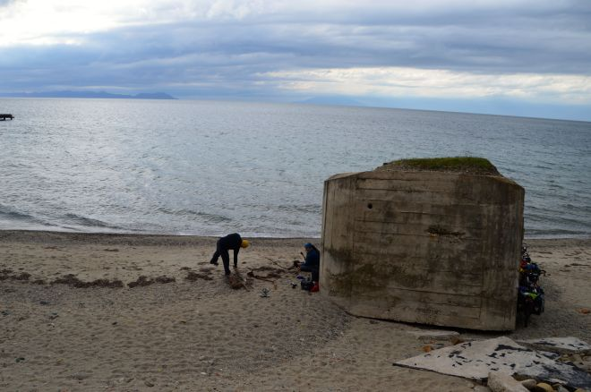 The weather picked up so we hid behind an old bunker for the night.