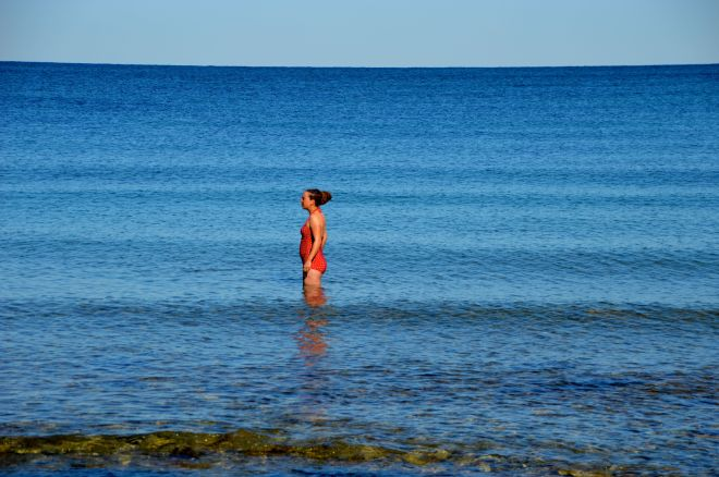 Looking stunning when she is about to swim with hundreds of jellyfish.